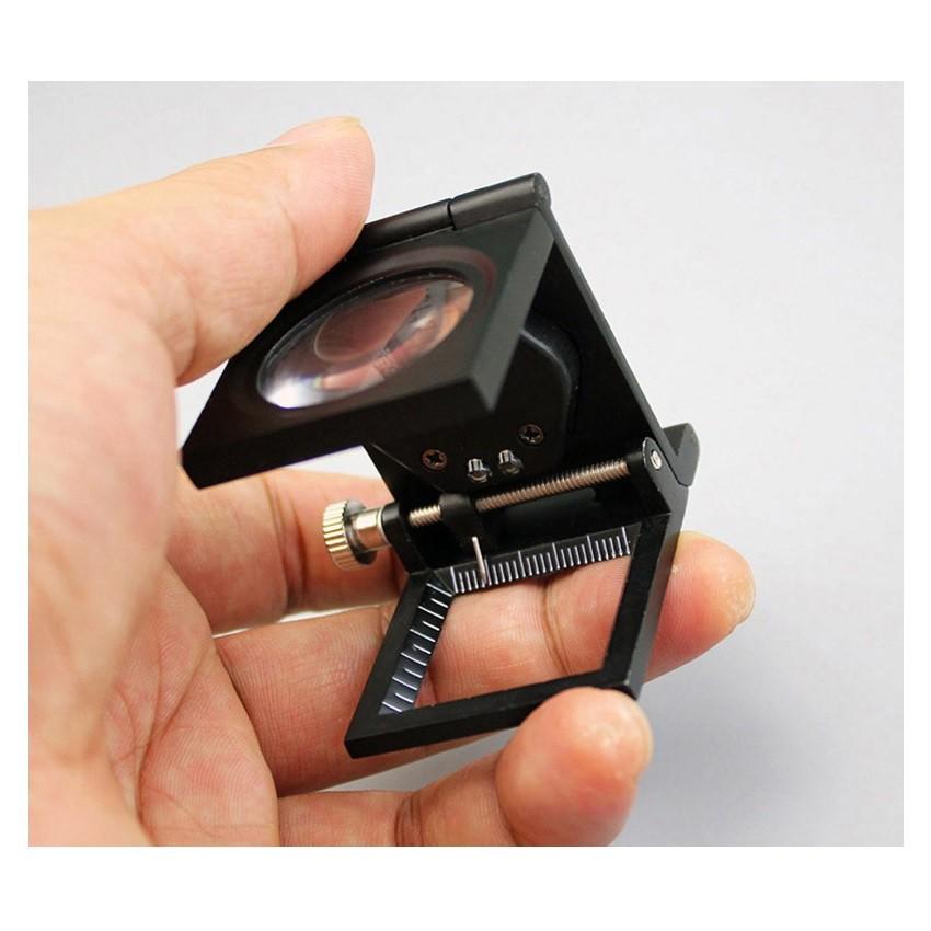 Conta-fios dobrável 8x em metal com Led, escala e contador.