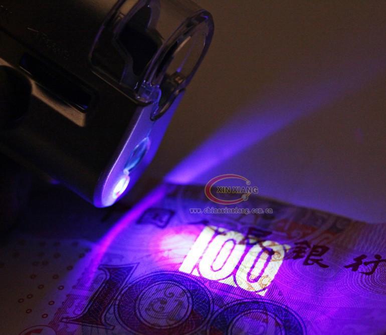 Lupa com ampliação ajustável de 30x a 60x + LEDs branco e UV + Função Lanterna e Case