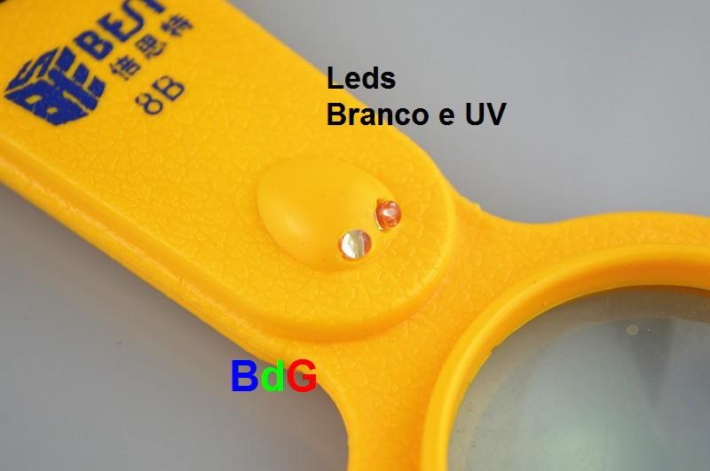 Lupa Conta-fios + Leds Branco E Uv + Bússola + Termômetro