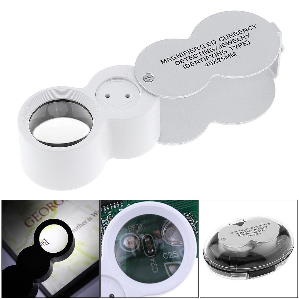 Lupa de mão 40x lente 25mm com Leds Branco e UV + estojo