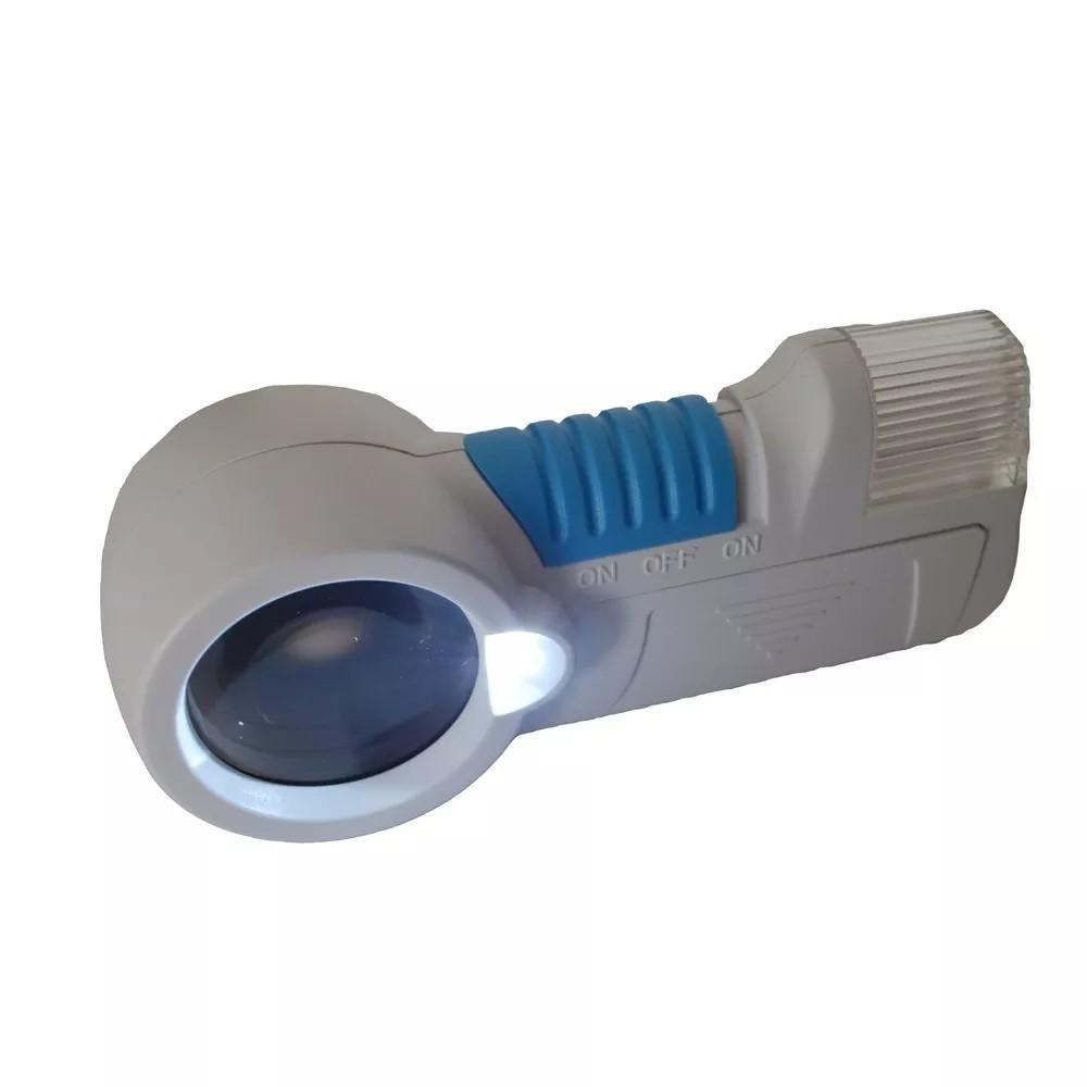 Lupa De Mão Com Luz Led E Lanterna Ampliação 12x