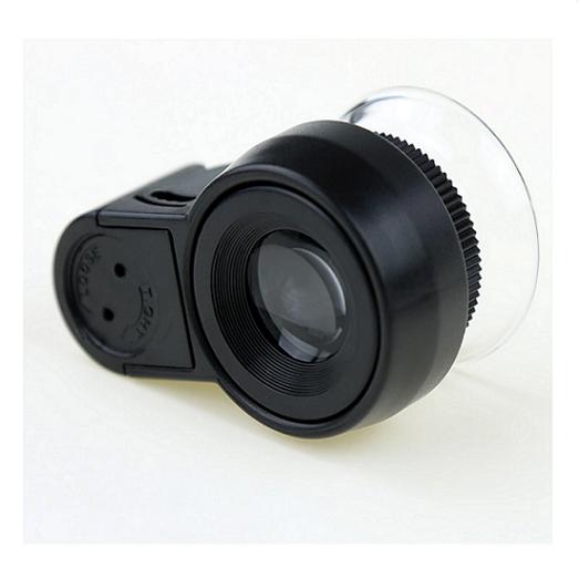 Lupa e Conta-fios 45x preto + Leds branco e UV + bolsa