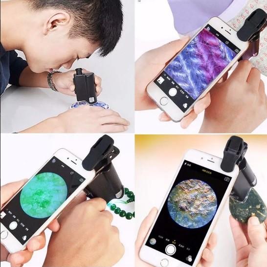 Microscópio Conta-fios 60-100x uso manual ou celular leds branco e uv