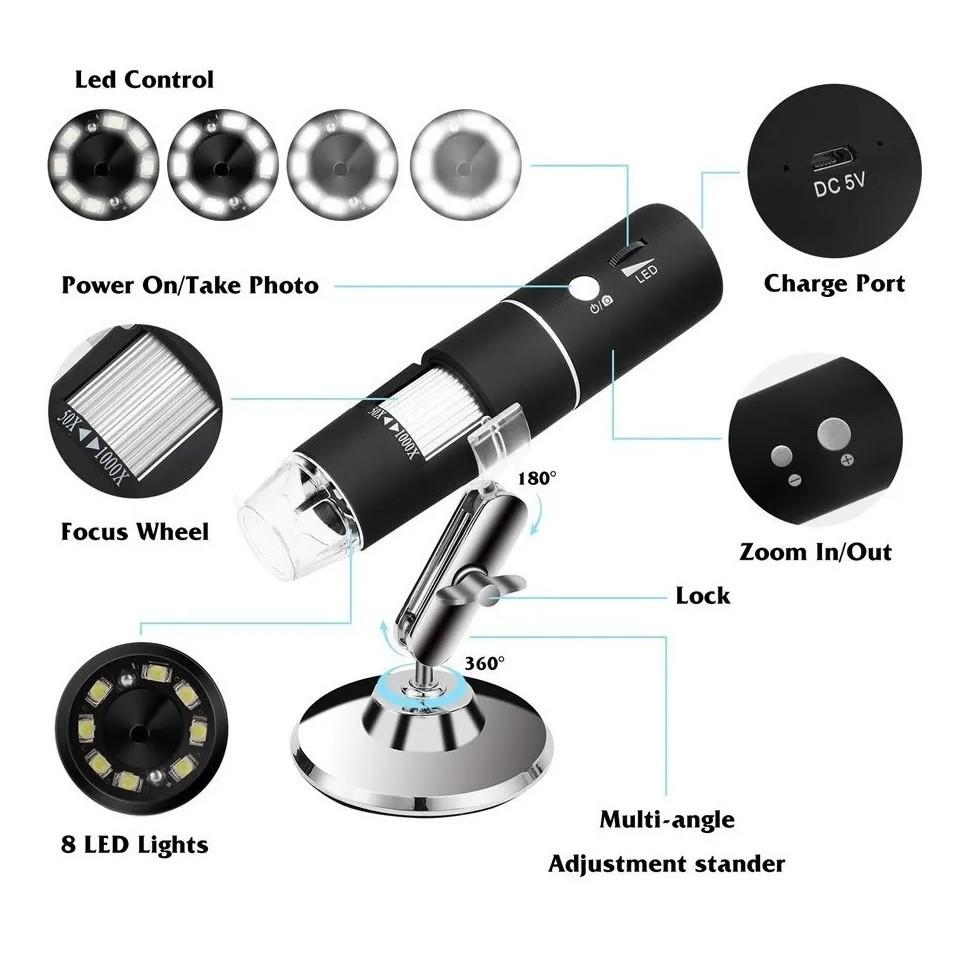 Microscópio Lupa Digital Wifi Pelo Celular Zoom 1000x WIFI