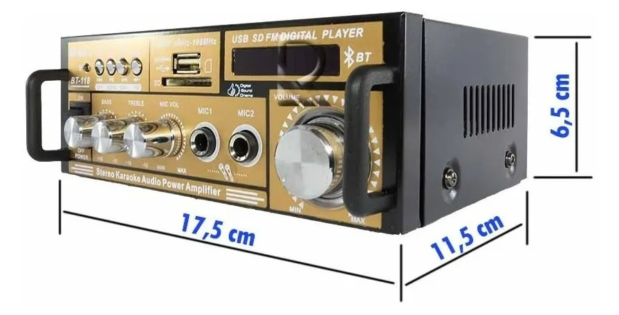 Mini Amplificador Bt-118 Fm Mp3 Fm Bluetooth Karaoke 110v