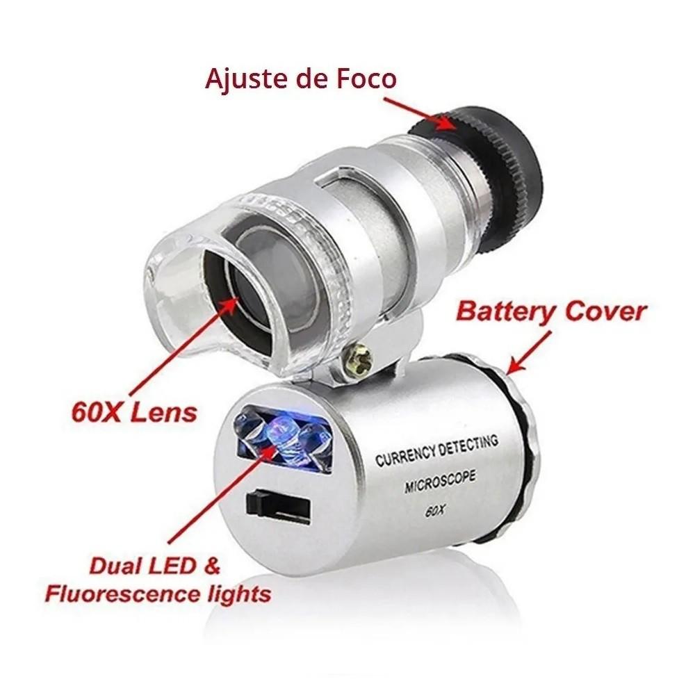 Mini-microscópio 60x Lupa com leds branco e UV + uso com celular