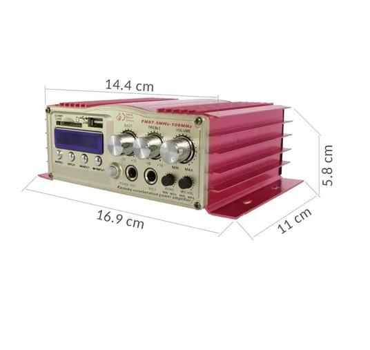 Mini Modulo Amplificador Bt-308 Com Bluetooth, Karaoke E Fm