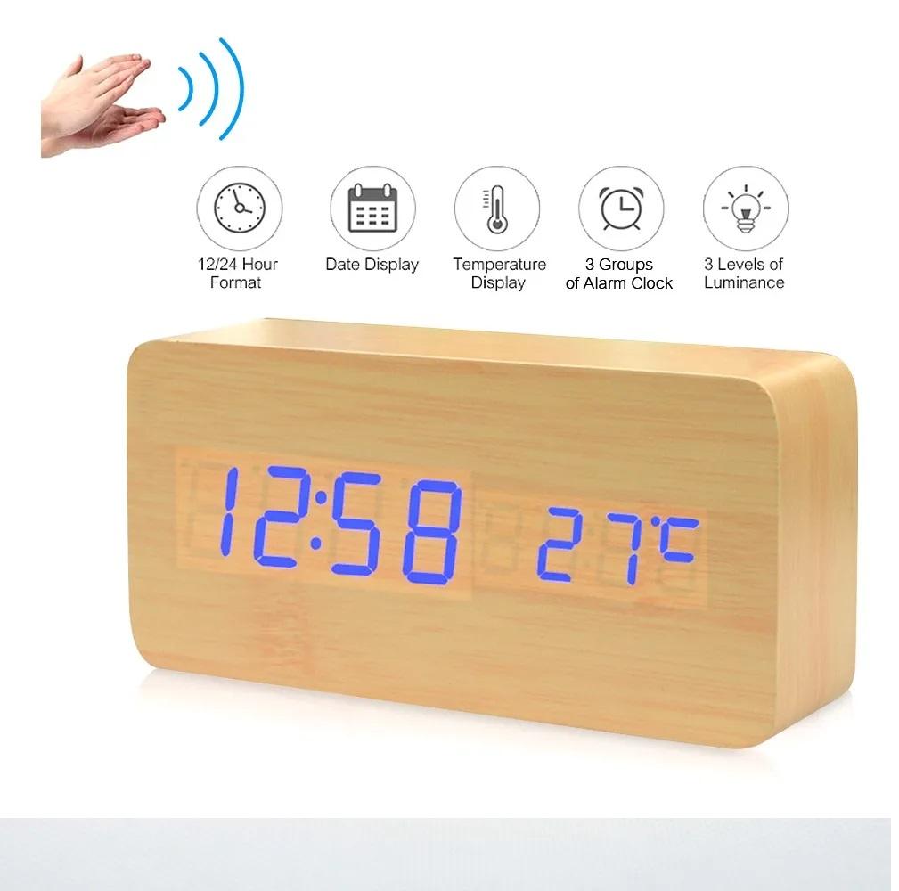 Relógio de mesa digital data hora temperatura led sensor