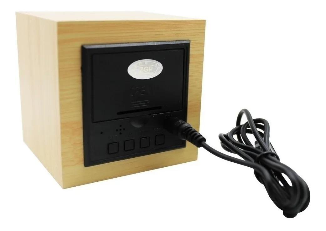 Relógio Digital De Mesa C/ Alarme, Led 5v Quadrado Madeira