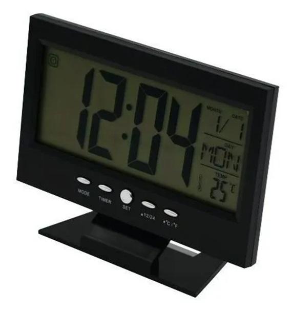 Relógio Digital LCD Data Hora Alarme Temperatura LED