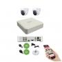 Kit DVR 4 Canais 104G + 2 Câmeras Dome 720P HD Hilook T110 + App Grátis de Monitoramento + Fonte + Acessórios + Cabo