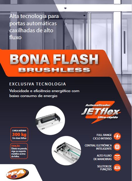 Bona Flash Brushless Automatizador para Portas Automáticas de Vidro