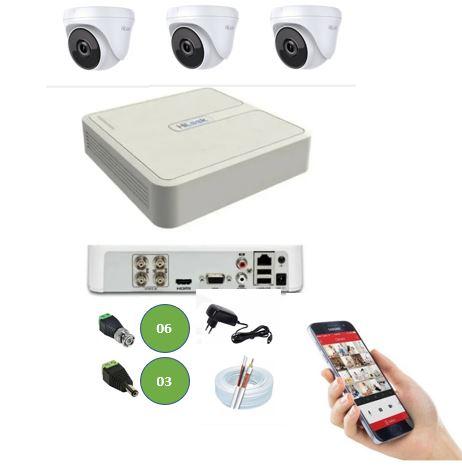 Kit DVR 4 Canais 104G + 3 Câmeras Dome 720P HD Hilook T110 + App Grátis de Monitoramento + Fonte + Acessórios + Cabo