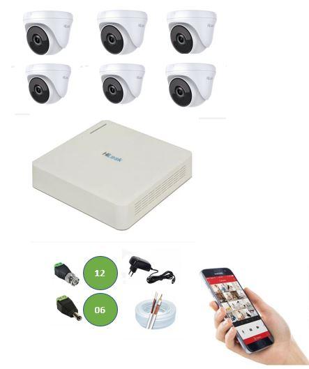 Kit DVR 8 Canais 108G + 6 Câmeras Dome 720P HD Hilook T110 + App Grátis de Monitoramento + Fonte + Acessórios + Cabo