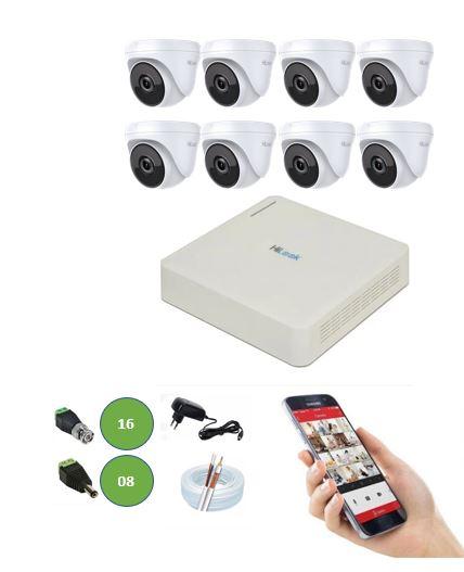 Kit DVR 8 Canais 108G + 8 Câmeras Dome 720P HD Hilook T110 + App Grátis de Monitoramento + Fonte + Acessórios + Cabo