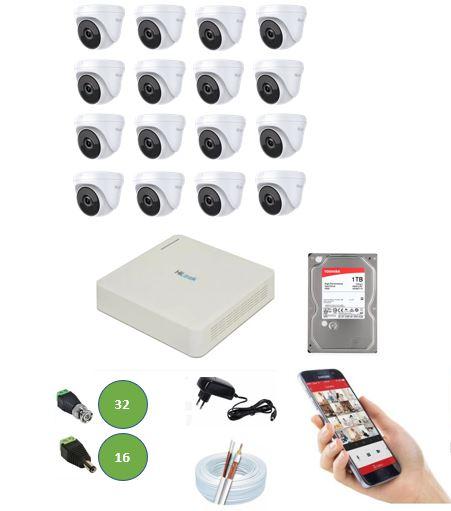 Kit DVR Hilook 16 Canais 116G + 16 Câmeras Dome 720P HD Hilook T110 + App Grátis de Monitoramento + Fonte + Acessórios + Cabo