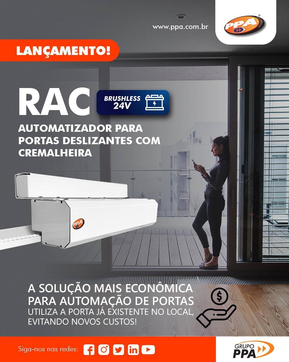 RAC Automatizador Deslizante para Portas de 1 folha