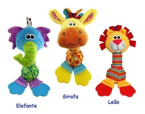 Kit Chocalho Pelúcia+joelheira Infantil+minhoca Montessori