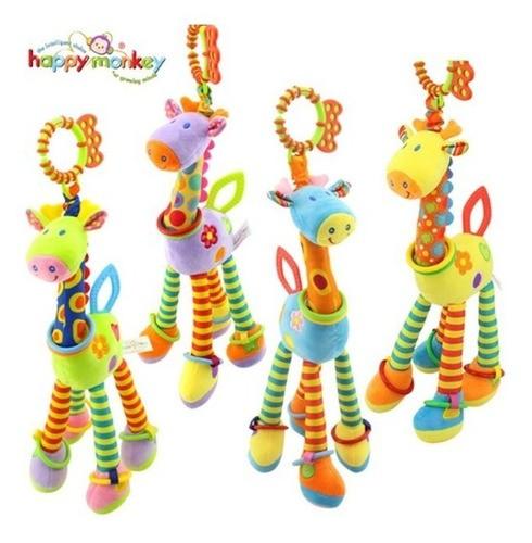 Kit Girafa Pelúcia Chocalho Mordedor+meinhas E Pulseiras Chocalh