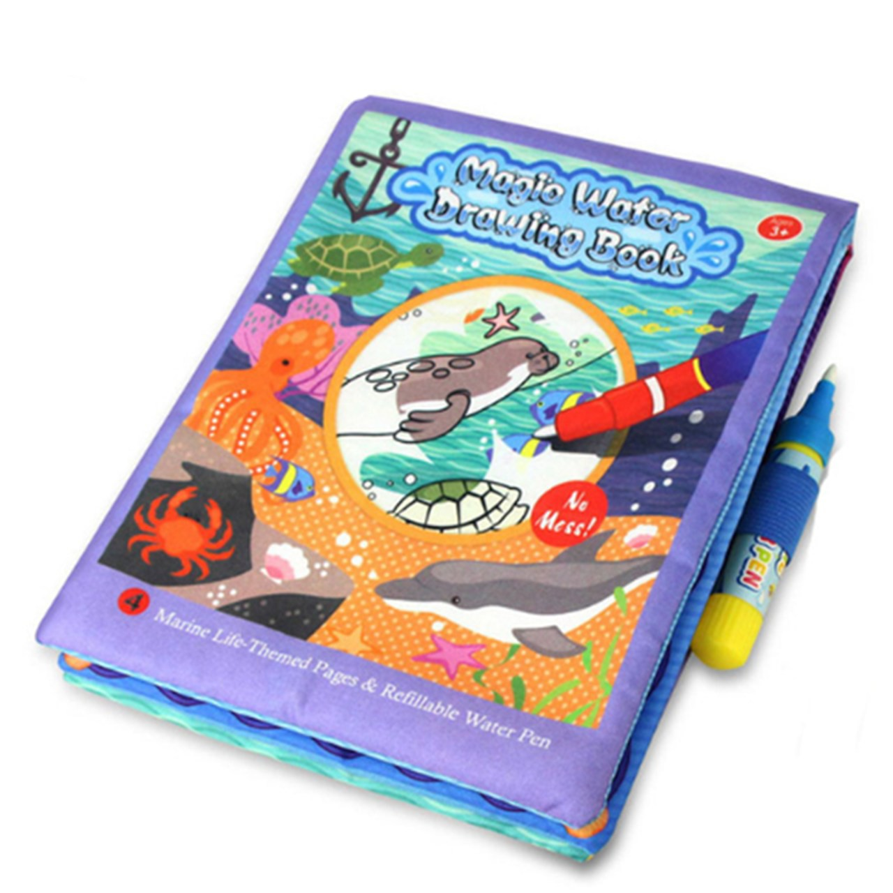 Livro de tecido para bebê caneta mágica vida marinha