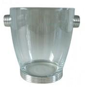 Balde de vidro com base e alças em estanho canelado (CA451)