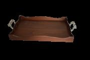 Bandeja de madeira com alças de estanho (P192B)