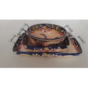 Conjunto de cerâmicas Luis Salvador com alças de estanho - desenho Madalena (CNJ-LS-T34)