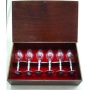 Conjunto de taças/cálices de licor capacidade 40ml em caixa de madeira (CNJ045)