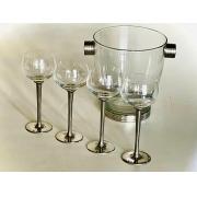 Conjunto de taças de cristal bourgogne com 300ml de capacidade e balde de vidro (CNJ051)