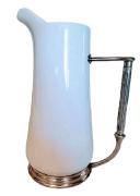 Jarra de Porcelana Para Suco ou Água com Base e alça De Estanho (P068)