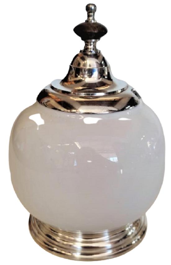 Açucareiro De Porcelana Branca Com Base e Tampa De Estanho (P642)