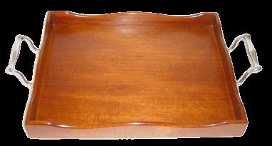 Bandeja  de madeira com alças de estanho (P192C)