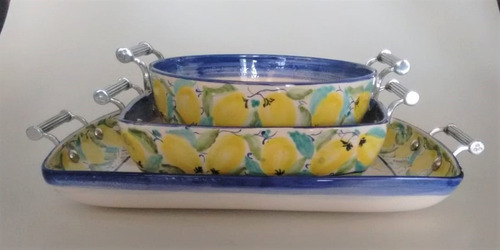 Conjunto de cerâmicas Luis Salvador com alças de estanho - desenho limão siciliano novo (CNJ-LS-T733)