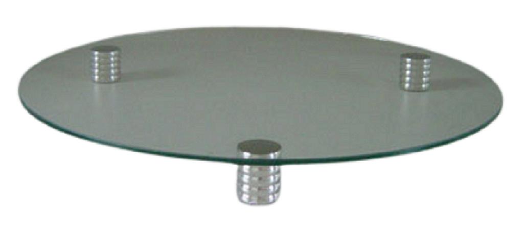 Porta - bolo redondo de vidro com pés de estanho (CA447)