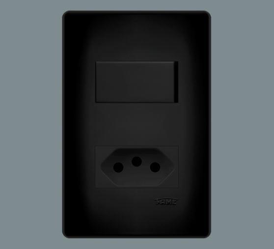 1 Interruptor Simples 16a/250v~ e 1 Tomada 2p+t 20a/250v~ Distanciados - Habitat Black