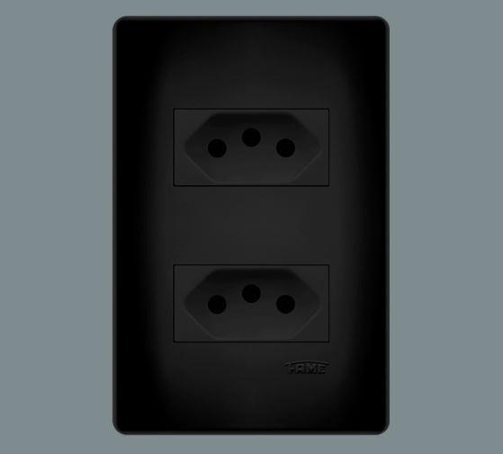2 Tomadas 2p+t 10a/250v~ Distanciadas - Habitat Black
