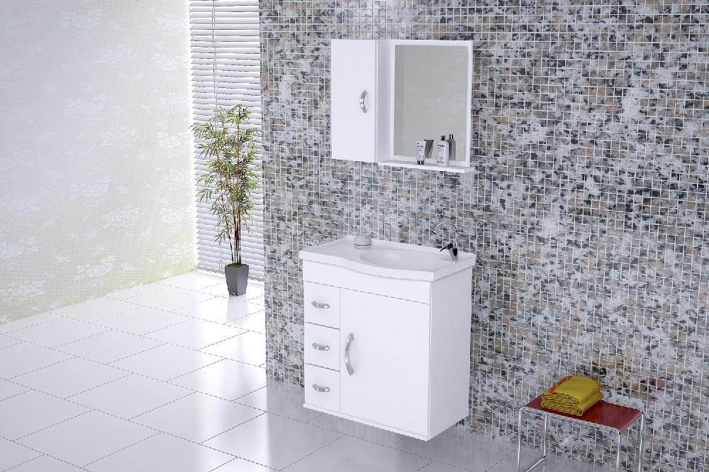 Conjunto Verona Gabinete Suspenso e Espelheira 60 cm - Branco