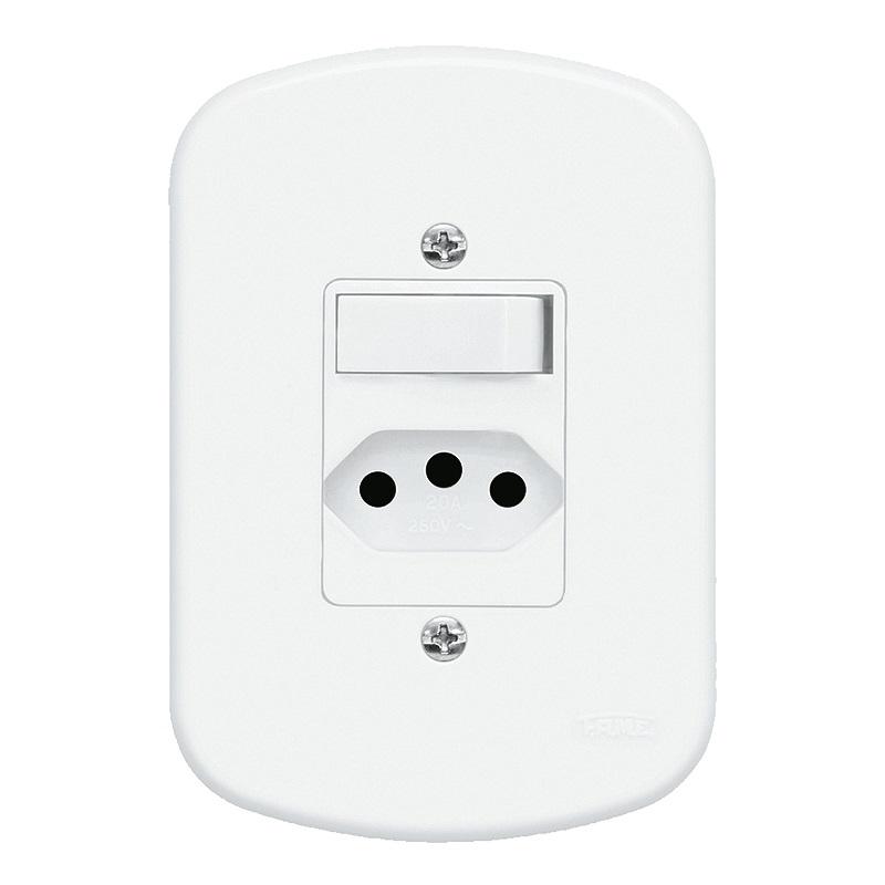 Conjunto 1 Interruptor Paralelo e 1 Tomada 2P+T 10A/250V 1361 Blanc