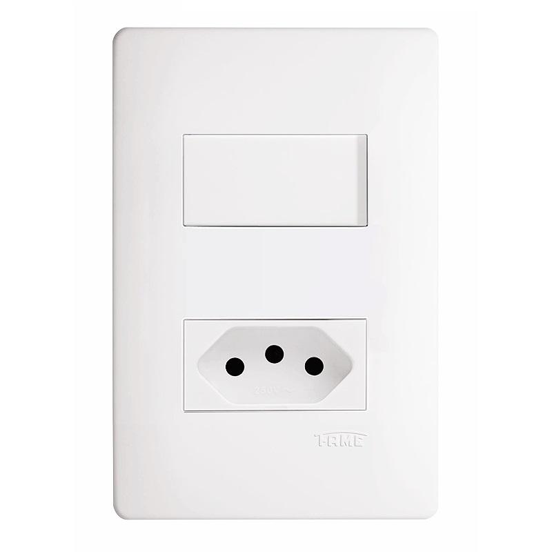 Conjunto 1 Interruptor Simples 16A/250V e 1 Tomada 2P+T 10A/250V