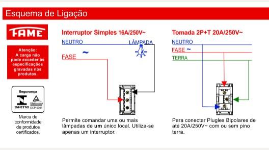 Conjunto 1 Interruptor Simples 16A/250V e 1 Tomada 2P+T 20A/250V
