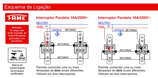 Conjunto 2 Interruptores Paralelos 10A/250V