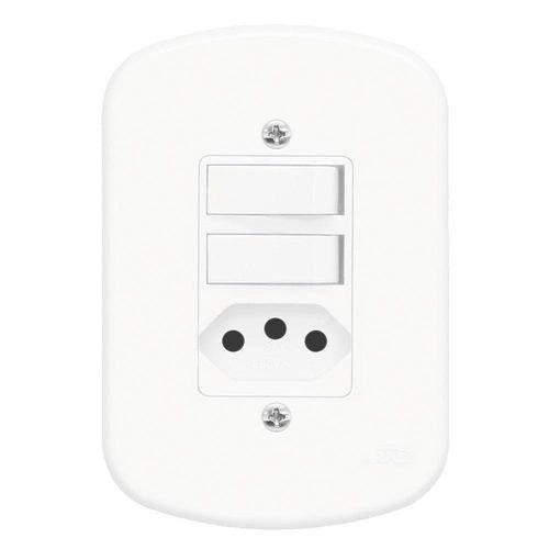 Conjunto 2 Interruptores Paralelos e 1 Tomada 2P+T 10A/250V