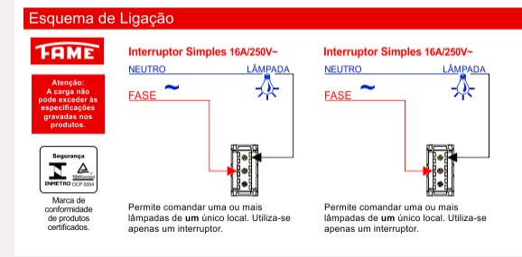 Conjunto 2 Interruptores Simples 16A/250V Distanciados