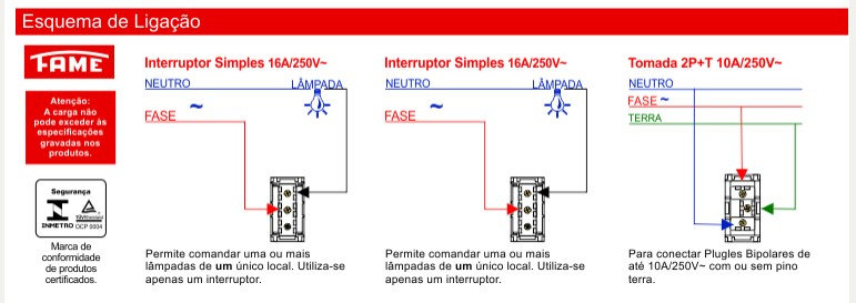 Conjunto 2 Interruptores Simples 16A/250V e 1 Tomada 2P+T 10A/250V