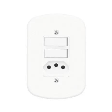 Conjunto 2 Interruptores Simples e 1 Tomada 2P+T 10A/250V