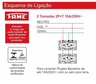 Conjunto 2 Tomadas 2P+T 10A/250V Distanciadas