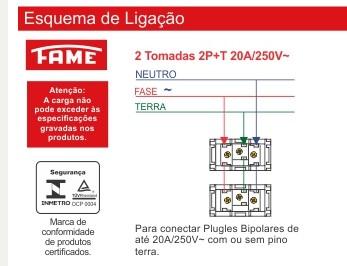 Conjunto 2 Tomadas 2P+T 20A/250V Distanciadas