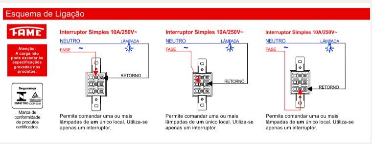Conjunto 3 Interruptores Simples 10A/250V