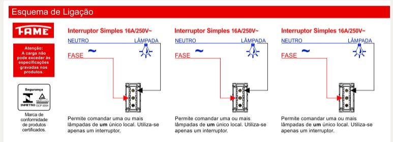 Conjunto 3 Interruptores Simples 16A/250V