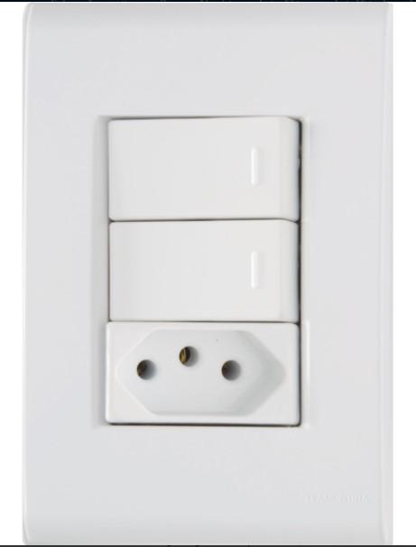 Conjunto 4x2 com 2 Interruptores Simples e Tomada 2P+T 10A 250V Liz - Branco